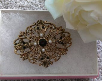 Vintage Victorian Revival Gold Tone Filigree & Faux Pearl Brooch - In Gift Box.