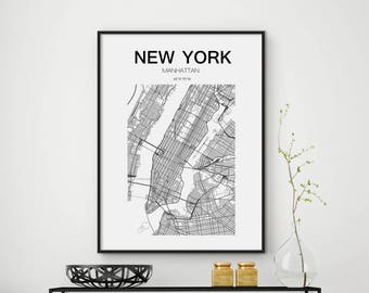 New york state map Etsy
