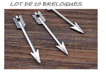 Set of 10 silver 3cm (D02) Cupid arrow charms