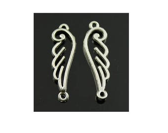 Set of 5 Silver angel wing (D18) connector charms