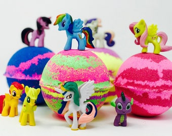 Sale! 3 or 5 7.0 oz  Pony Inspired Bath Bomb Party Favor Set with Surprise Pony Toy Figures Inside Each Bath Bomb