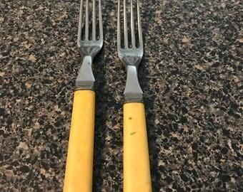 2 Vintage Forks with Bakelite Handle
