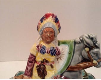 Majolica American Indian on Horse Match Holder with Striker