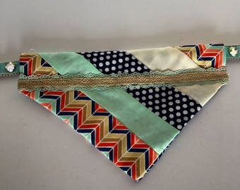 Chevron Stripe Patchwork Medium Dog Bandana