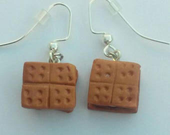 Polymer Clay S'more Earrings, Camping Earrings