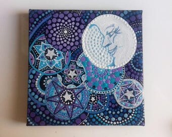 Mandala, Moon, Man in the moon, original painting, OOAK, Hippy gift, unique, magical painting , pagan gift, birthday gift, christmas gift