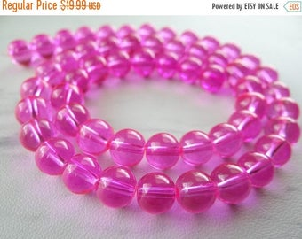 63% End of Summer Sale Glowing bright pink Quartz smooth round beads/8mm/15 inches long