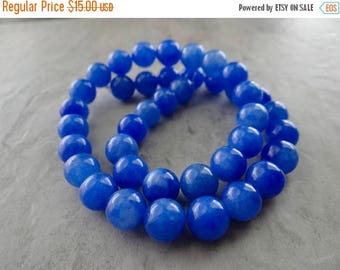 63% End of Summer Sale Cobalt blue quartz smooth round beads 10mm.. 15 inch strand