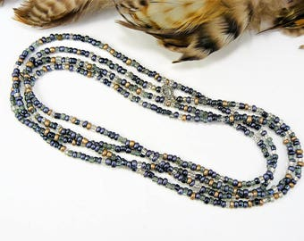 Extra Long Beaded Necklace, Long Seed Bead Necklace, Long Beaded Necklace, Layering Necklace or Wrap Bracelet, Seed Bead Choker, Boho Style