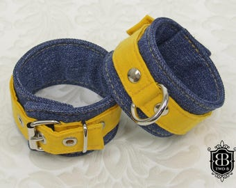 Handcuffs BDSM bondage cuffs yellow jeans