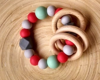 Bpa free silicone rattle, teether rattle