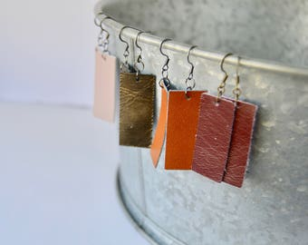 Rectangular Leather Earrings