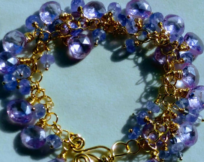 Hand made natural Tanzanite beaded  bracelet, Lavender spinel bracelet, Tanzanite jewelry. December birthstone, yellow Gold clasp