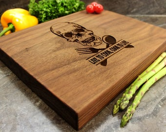 "Personalized Chopping Block 12x15x1.75"" - Engraved Butcher Block, Custom Chopping Block, Housewarming Gift, Anniversary Gift, Skull #19"