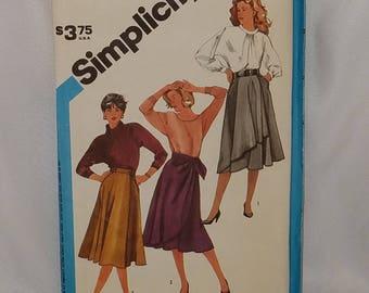 """Misses Wrap Skirt A-Line Vintage 1984 Simplicity 6546 Sewing Pattern UNCUT FF Size 14 Waist 28"""""""