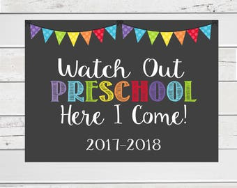 First Day of School Sign, 1st day Preschool,Preschool sign, Preschool Here I come Sign,Back to School Sign