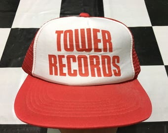 Deadstock NWT Vintage Tower Records trucker cap Made in Japan Deadstock condition