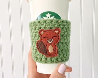 Beaver Cup Sleeve, Beaver Coffee Cozy, Beaver Gift