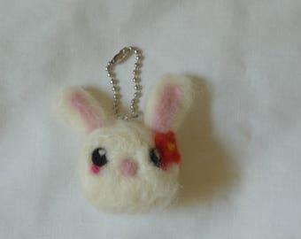 Needle Felted Bunny Keychain