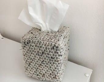 Tissue Box Cover - Handmade Crochet Kleenex Box Cover - Square Tissue Box Holder - Cube Tissue Box Cover - Home Decor - Soft Cover