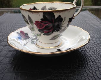 ROYAL ALBERT masquerade black roses teacup, gifts for her
