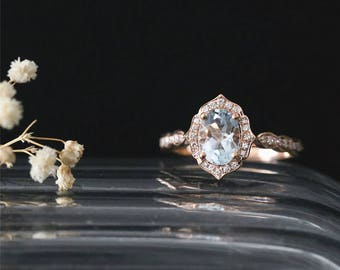 Vintage Ring 8*6mm Oval Cut Natural Aquamarine Engagement Ring March's Birthstone Aquamarine Ring 14K Rose Gold Ring Stackable Bridal Ring