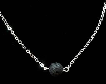 Black Lava Rock Necklace, Aromatherapy Necklace, Diffuser Necklace, Essential Oils Necklace