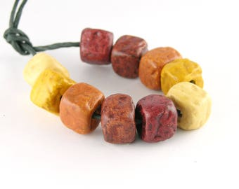 Ceramic Beads Cube with rough print 10 mm Set of 10 beads in golden yellow and brown tones 2 mm hole ErikMakesBeads