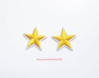 Set of 2 yellow stars patches military pinup Rockabilly fashion custom Iron On Embroidered Patch Applique Star rock tattoo 1.5""