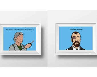 Sterling Archer, Archer TV Show, Danger Zone, Welcome to the danger zone,  Archer TV Series, Set of Two prints