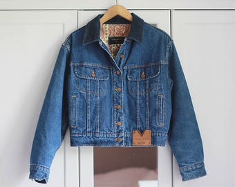 VALENTINO JEANS Denim Jacket Vintage Retro High Fashion Blue 1980s Women Unisex Padded Outerwear Thick Warm Clothing Winter / Large size