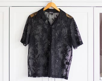 1980s Blouse Vintage Lace Top Black Top Shirt Collar Delicate Subtile Sleeveless Chic Boho Beach Summer Women Clothing / Extra Large Size
