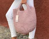 Crochet Tote Bag DUSTY LAVENDER color