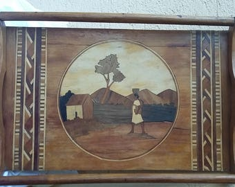 Marquetry vintage wooden service tray Africa Asia