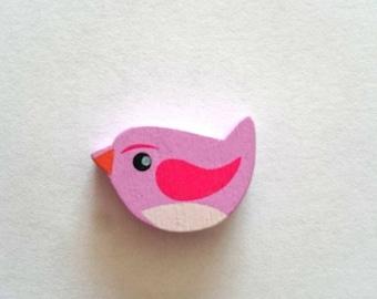 Bird purple wooden beads