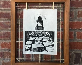 Lighthouse Block Print
