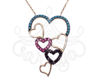 925 sterling silver Love, Hearts, and Eternity Necklace accented with gemstones