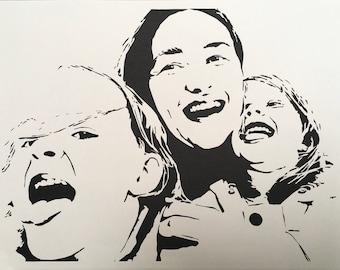 custom portrait based on photo, family portrait, personalized portrait, paper cut art, wall decor, framed, souvenir, gift