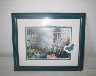 Vintage Wall Hanging 1985 S.C. Artist Van Martin 'Summer Shadows' In A Teal Frame With Brief Biography On Back