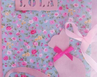 Protects health customizable Notepad with name, girl, liberty fabric flower and faux leather