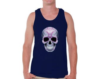 Sugar Skull Tank Tops for Men Candy Skull Tank Top Pink Skull Tanks Pink Smiling Skull Face Shirt Day of the Dead