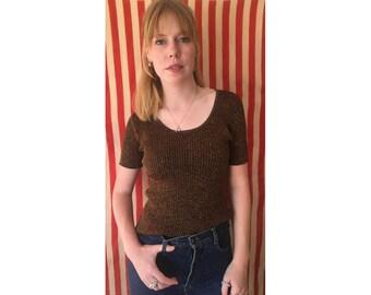 Metallic sweater/ 90s Sweater/Cropped Sweater/ Bronze Sweater/ Gold Sweater/ Short Sleeve Sweater