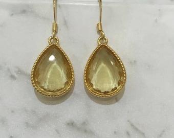 Dangle Teardrop Earrings Yellow