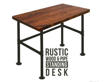standing desk wood u0026 pipe desk industrial style desk rustic wood and iron pipe