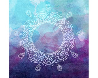 Watercolour Mandala Clip Art Graphic Design PNG High Resolution I64