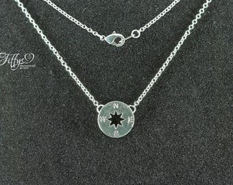 Compass pendant necklace * silver * necklace * chain * pentain compass