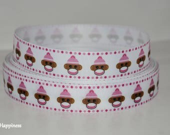 "Sock Monkey 7/8"" Grosgrain Ribbon 652 By the Yard"