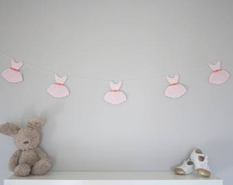 Tutu dress bunting, tutu dress garland, pastel nursery decor, new baby gift, kids room, wooden bunting, playroom decor, glitter