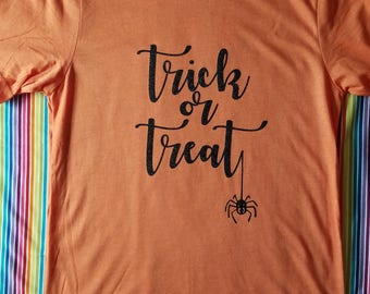 Trick or Treat shirt. Halloween shirt. Spider Shirt.