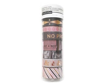 Set of 8 Washi Tapes, Recollections, Rose Gold and Marble